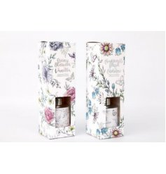 An assortment of 2 beautifully scented reed diffusers with floral packaging. A lovely gift item from the Secret Garden