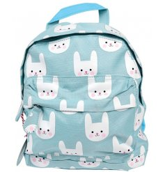this charming blue toned backpack will be just what your little ones need when going to school or out to play!