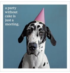 A party without cake is just a meeting. A fabulous slogan greetings card with a photographic dog image.