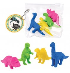A set of 4 colourful dinosaur erasers featuring 4 different species. A fantastic set for your pencil case and parties.