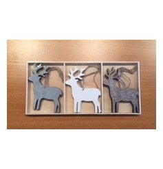 Grey and white toned hanging reindeer decorations that will be sure to tie in with any themed home during Christmas