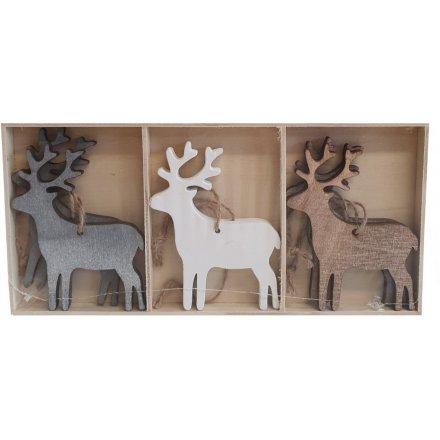 Grey/White Hanging Reindeer Set