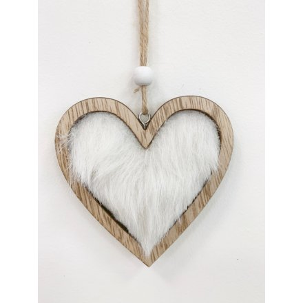 Wooden Heart With Faux Fur Hanger