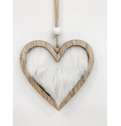 A stylishly simple hanging wooden heart with an added white faux fur centre