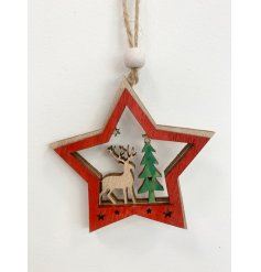 A charming natural wooden star hanging decoration with added festive tones and a woodland scene centre