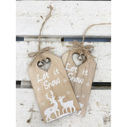 A pack of 2 hanging wooden plaques with scripted text quotes and added winter scenes,
