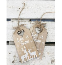 A charming pack of 2 wooden hanging decoration in a label shape