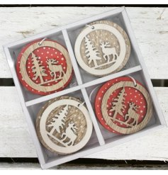 8 hanging wooden decorations with red and white polka dot patterns and woodland scene features
