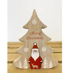 A natural toned wooden tree block with scripted text decals and an added Santa centre piece