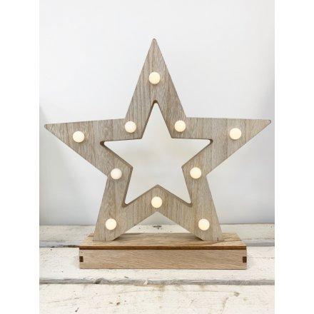 LED Wooden Light Up Star, 30cm