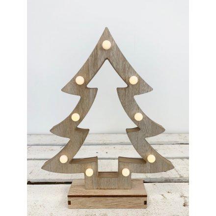 LED Wooden Light Up Tree, 32cm