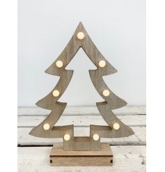 Bring a cozy glow to any home space with this charming natural toned wooden tree with fitted LED lights