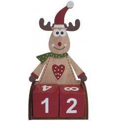 A wooden Perpetual Calendar with an added Reindeer Shape and style