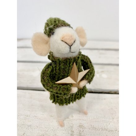 White Woollen Mouse In Jumper