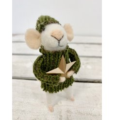 A little white woollen mouse dressed up in a green knitted jumper and matching hat