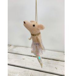 Add a glamorous touch to your tree decor this Christmas with this fabulous little felt piggy