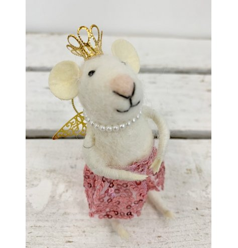 A felt wool princess mouse with a golden crown and wings, pearl necklace and sequin skirt.