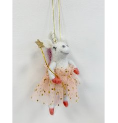 A delightful little white fuzzy unicorn hanging decoration, perfectly dressed up as a Princess Fairy