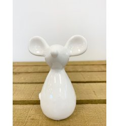 A charming little white ceramic mouse decoration, suitable for any themed home space at Christmas Time