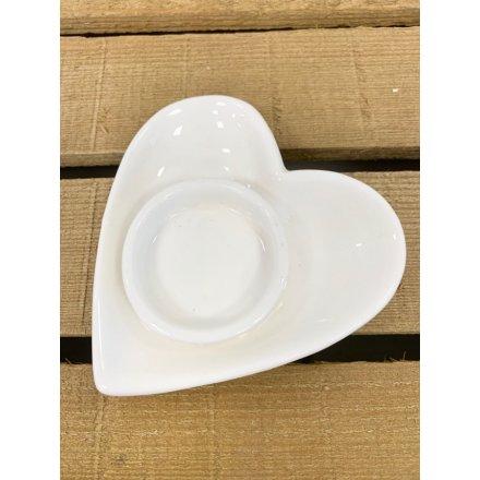 Small Ceramic Heart Tlight Holder