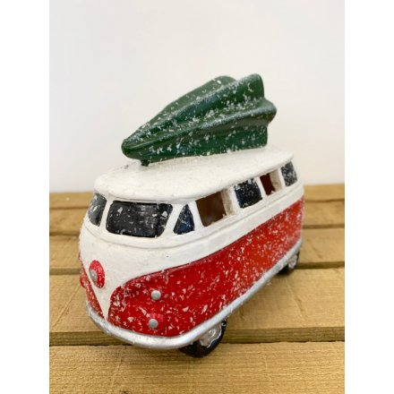 Bring a fun and traditional hint to your home decor at Christmas time with this quirky red toned Camper Van Decoration