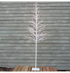 this tall standing white twig tree will be sure to place perfectly in any home or display during Christmas