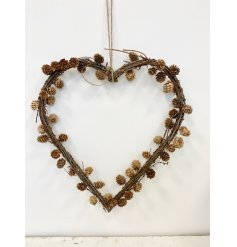 this charmingly simple heart shaped wreath will be sure to bring a Woodland feel to any home display