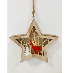A beautifully made wooden hanging star decoration, complete with an added cut woodland scene and warm glowing LED centre