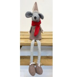 A cute little sitting fabric mouse with a beige and grey tone