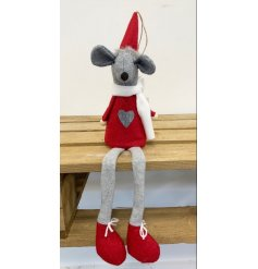 A charming little fabric mouse decoration dressed up in red and grey tones