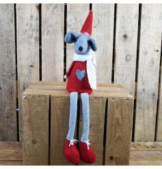 A cute little sitting fabric mouse with a red and grey tone