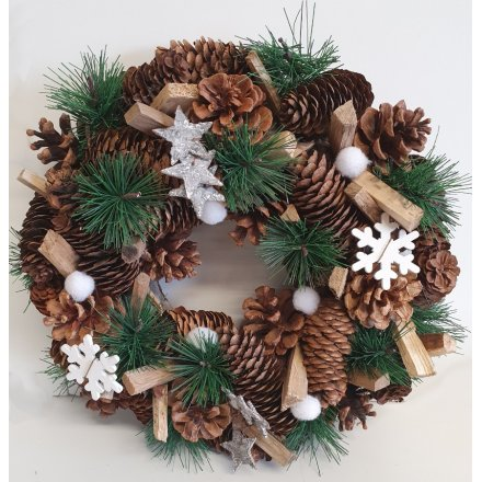 White Snowflake Covered Wreath, 32cm