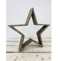 A rustic 3D standing star decoration in a grey natural finish.