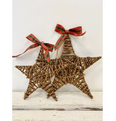 A traditional star shaped wicker wreath with a beautiful tartan bow and jute string hanger.