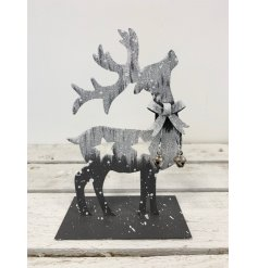 A chic standing reindeer ornament in an elegant pose. Complete with a silver glitter finish, jingle bells and bow.