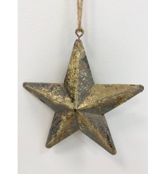 An antique style three-dimensional metal star hanger with a gold rustic finish and jute string hanger.
