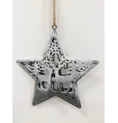 A beautifully detailed metal star decoration with an intricate reindeer design. Complete with silver sparkle frosting.