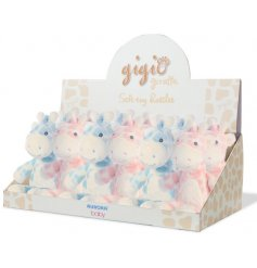 A sweet little assortment of pretty pink and baby blue toned soft toy rattles, perfect for new born babies