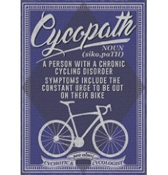 Chronic Cycling Disorder Metal Sign , A metal sign featuring a comical script text and added illustrations
