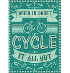 A metal sign featuring a charming script text and added illustrations about cycling