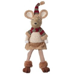 A sitting fabric mouse decoration set with beige tones and a festive hat and scarf