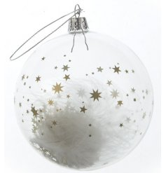 A delicate clear glass bauble featuring a gold star decal and angelic feather centre