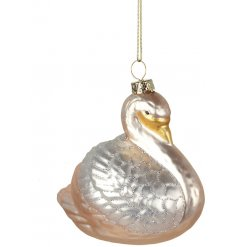 A beautifully decorated hanging glass swan with added silver glitter lines and gold specks
