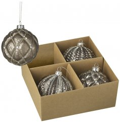 A set of 4 glass baubles, each decorated with its own mottled brown tone and added glitter accents