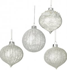 A beautifully elegant set of hanging glass baubles in an assortment of shapes