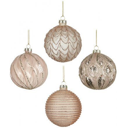 Blush Pink And Glitter Glass Baubles, Set of 4