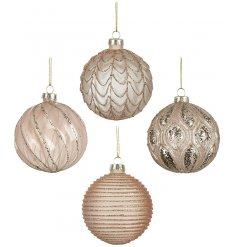 A beautiful set of 4 glass baubles, each complimented by its blush pink tone and added glitter decals