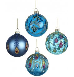 Bring a colourful twist to your Christmas decor this season with this beautiful set of glass baubles