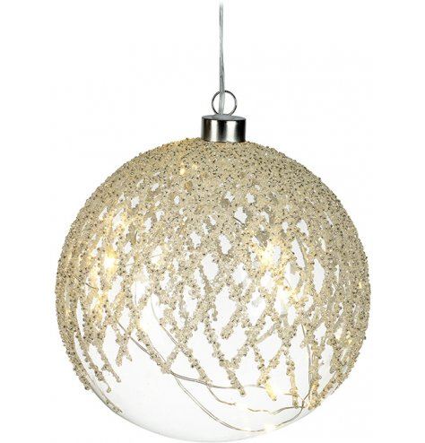 A stunning large glass bauble with cascading white and silver beads in a chic lattice pattern.