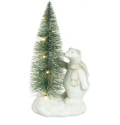 this standing polar bear and LED tree decoration will be sure to add a Winter Wonderland feel to any home at Christmas